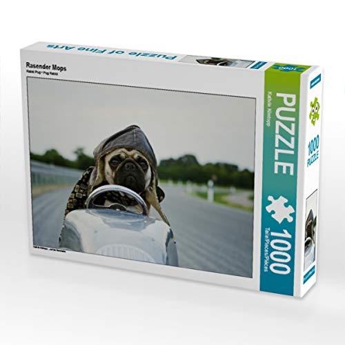 CALVENDO Puzzle Rasender Mops 1000 Teile Lege-Größe 64 x 48 cm Foto-Puzzle Bild von Kathrin Köntopp