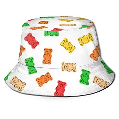 XNLHQH IJ Gummy Bears Candies Mens Womens Trends Fashion Bucket Hat Black