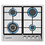 24 Inch Gas Cooktop, KUPPET QM4050 Gas Stove Cooktop with 4 Italy Sabaf Sealed Burners, Stainless Steel Cooktop Gas Hob, NG/LPG Convertible ETL Certified