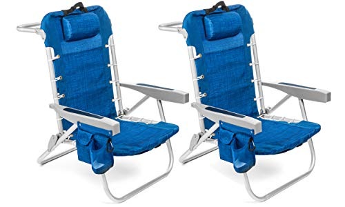 Homevative Folding Backpack Beach Chair with 5 Positions, Towel bar, Cooler Pouch, Storage Pouch, Cup Holder and Phone Holder