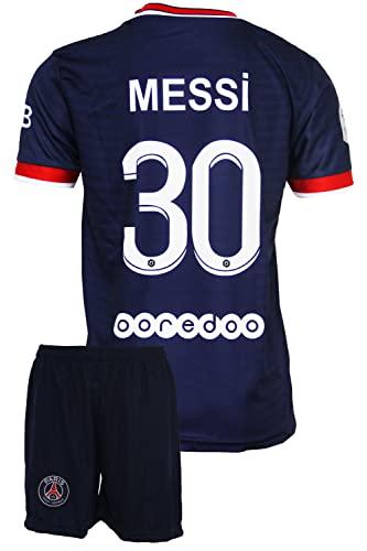 IHIMI Paris Lionel Messi Kinder Trikot #30, 2021/2022 Saison, Heim, Komm mit Shorts Fußballfans (10-11 Jahre,164)
