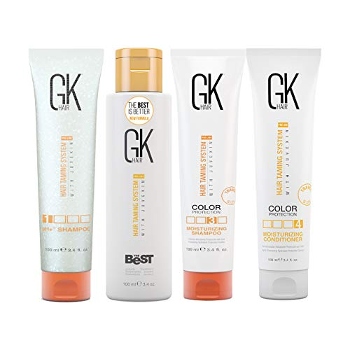 Global Keratin GKhair The Best Professional Hair Kit (100ml/3.4 Fl Oz) Straightening, Smoothing Keratin Treatment Kit - For Silky, Smooth Natural Hair - New Formula