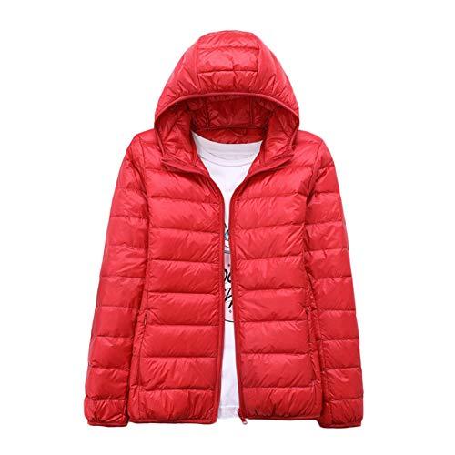 YAOTT Donna Piumino Caldo Corto Cappotto Giacca Inverno con Cappuccio Rosso 3XL