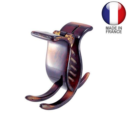 342-003 – Pince pour cheveux français, 2 cm, 3 dents, couleur tortue – Pince pour cheveux