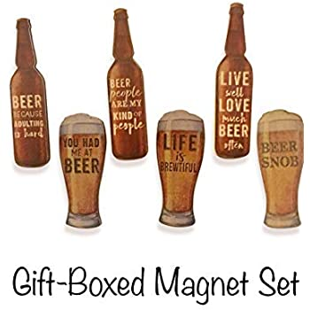 Funny Beer Magnets, Gift-Boxed Set of 6. Comical Sentiments that are sure to make any Beer Lover Smile