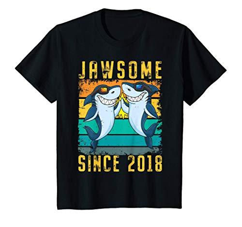 Kids 3rd Birthday Shark 3 Year Old Jawsome Since 2018 T-Shirt