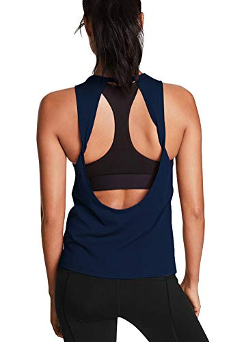 Mippo Womens Tank Tops Loose Fit Yoga Tops Sleeveless Open Back Workout Tops Muscle Tank Tennis Athletic Shirts Exercise Fitness Gym Active Tops Cute Camping Clothes for Women Navy Blue XL