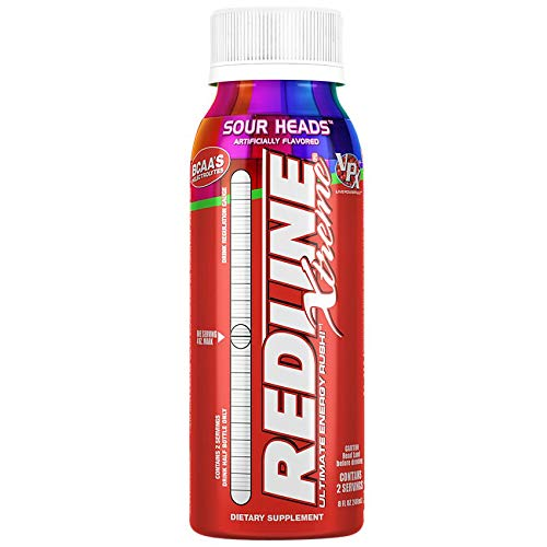 VPX Redline Xtreme Energy Drinks - Ready-to-Drink Sugar-Free Energy Beverage - Sour Heads Flavor - 8 Ounces, 24 Bottles