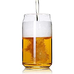 Set of 4 beer glasses (holds 20 ounces each),Smooth contours of a beer can with flavor benefits from a glass. The beer can design doesn't let the aroma and gas just escape, as it happens with the old style pint glass,so let the can-shaped beer glass ...