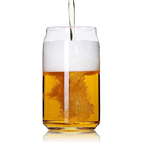 Large Beer glasses,20 oz Can Shaped Beer Glasses Set of 4,Elegant Shaped Drinking Glasses is Ideal Gift,Tumbler Beer Glasses Great for Any Drink and Any Occasion