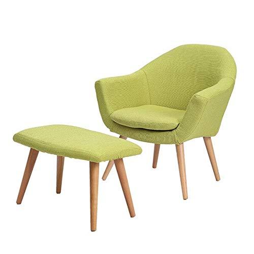 Haus Dekoration Eleganter gepolsterter Stoff-Club-Stuhl mit Massivholz-Beinen Akzentstuhl for Home Hotel Iving Room Möbelsessel zeitgenössisch (Color : Green Color W Stool)