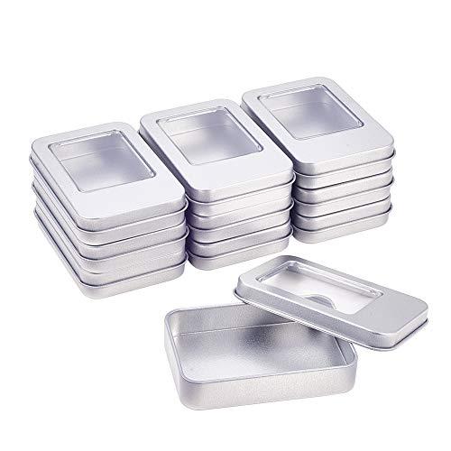 BENECREAT 10 Pack Rectángula Caja de Almacenamiento de Metal con Pequeña Ventana Transparente para Organizar Artículos Pequeños Apta para Viaje