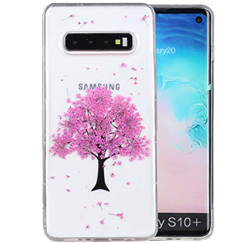 Galaxy S10 Plus Case, iYCK Handmade [Real Dried Flower and Leaf Embedded] Pressed Floral Flexible Soft Rubber Gel TPU Protective Shell Bumper Back Case Cover for Samsung Galaxy S10 Plus - Tree
