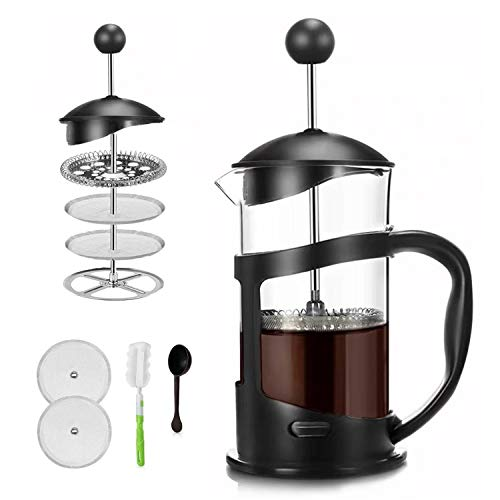 Covos French Press Coffee Maker 12oz350ml Coffee/Tea Maker with 4 Level FiltrationHeat Resistant Borosilicate Glass Carafe with Durable Handle with Cleaning Brush amp Measuring Spoon