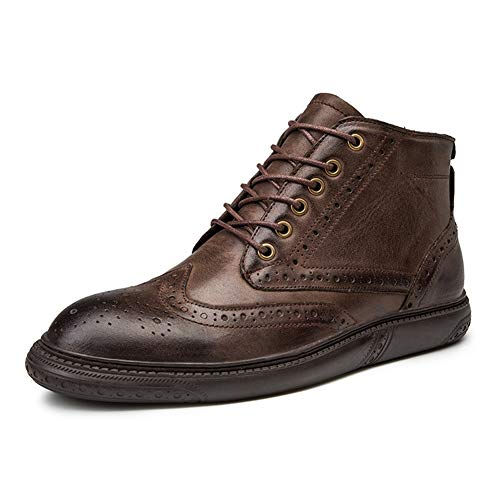 LIHAIBOHF-EUO Brogue enkellaars for mannen Work Boots Lace Up echt leder ronde neus Stiksel Solid Color gepolijste stijl (Invisible Taller)