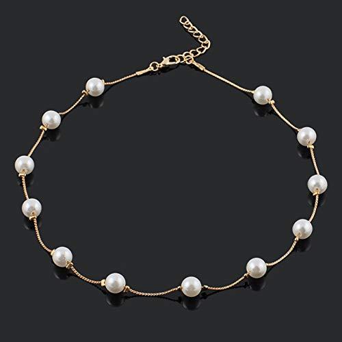 Ballylelly Hermosos 12 Perlas simuladas Exquisito Buen Regalo Collar Moda Gargantilla Collares para Mujeres