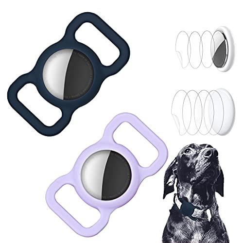 2 Stück Schutzhülle kompatibel mit Airtag Pet Halsband, Silikon Katze Hund Halsband Halter für Air Tags mit 4pcs HD Displayschutzfolie für Airtag Hülle für Rucksack Tasche