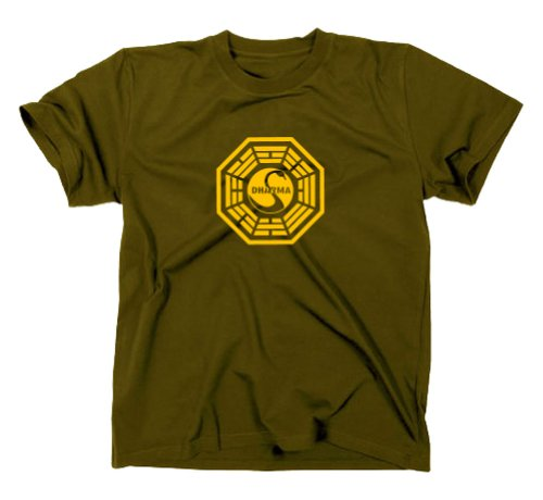 GILDAN Lost T-Shirt Station 3 The Swan Logo, Dharma Initiative, serie TV Olive XXL