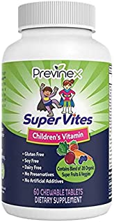 Previnex Super Vites - Multivitamin for Kids, Chewable Tablets, Gluten Free, Soy Free, Dairy Free & Preservative Free with...