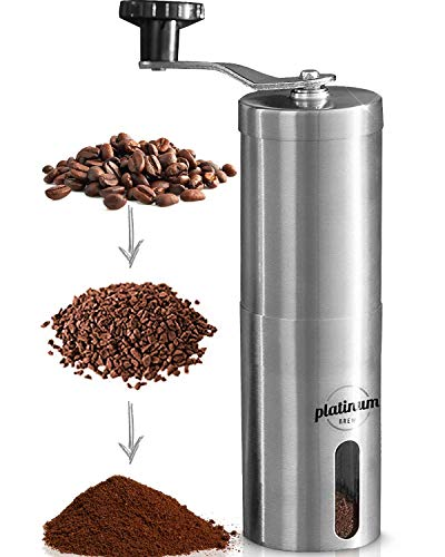 Manual Coffee Grinder Premium Burr Coffee Grinder Adjustable Setting Conical Burr Mill & Brushed Stainless Steel - Manual Coffee Bean Grinder for Aeropress, Drip Coffee, Espresso, French Press, Turkish Brew USA Company… (Stainless)