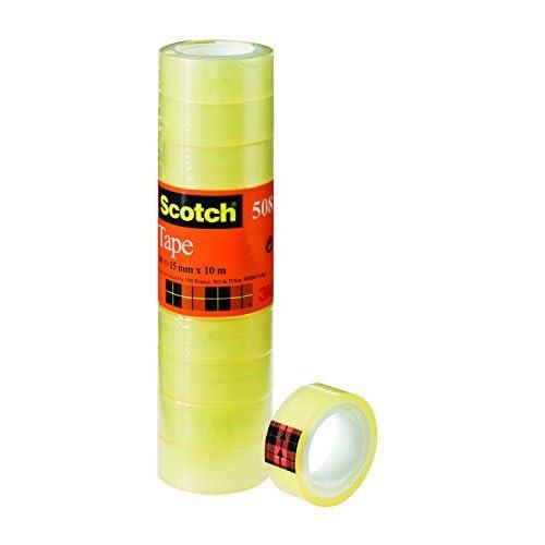 Scotch Nastro Adesivo 3M, Trasparente Acrilico, 15 mm x 10 m, Confezione Torretta da 10 Pezzi