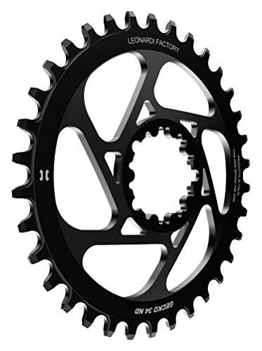 Leonardi Factory Gecko SRAM Offset 6 Plato De Bicicleta, Hombre, Negro, 34