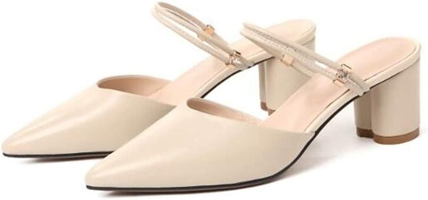 IWlxz Women's Nappa Leather Spring Sandals Chunky Heel Beige Almond Nude