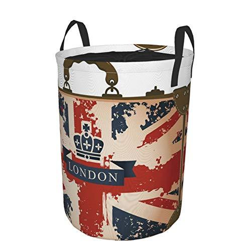ZOMOY Pieghevole Tessuto Cesti per Portabiancheria,Valigia da Viaggio Vintage con Bandiera Britannica Londra Nastro e Immagine della Corona,Scatole di Immagazzinaggio Organizzatore Borsa Stoccaggio