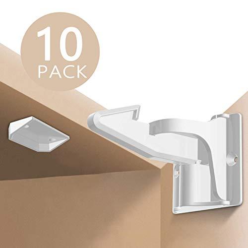Kindersicherung Schrank (10er Pack), Unsichtbare Schubladensicherung Baby Sicherung Schrankschloss für Schubladen und Küchen Schranktüren, Montage ohne Bohren - Norjews