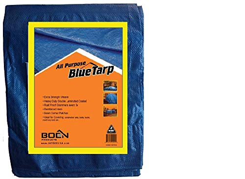 Multi-Purpose Blue Poly Tarp Cover (30 X 40) Heavy Duty 5 Mil Thick Weave Material, Waterproof, Great for Tarpaulin Canopy Tent, Boat, RV or Pool Cover and More