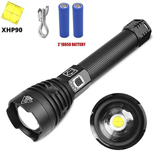 200000lm lampe de poche LED Xhp90 lampe torche lampe rechargeable Ultra Bright Zoommable, 26650 18650 torche puissante batterie lampe télescopique en alliage d'aluminium étanche 3 modes (Xhp90 lampe d