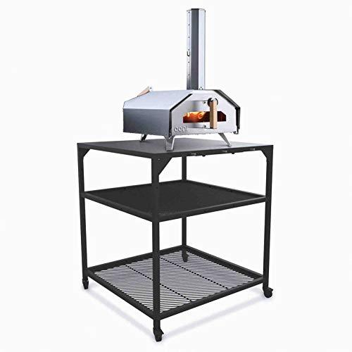 Ooni Pizzatisch aus Stahl– groß, Grill Beistelltisch, Servierwagen Outdoor, Küchenwagen mit 4Rollen, Grillwagen