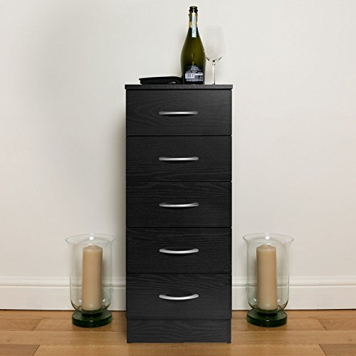 Home Treats Black Chest of Drawers Bedroom Furniture. Anti-Bowing Clothes Organiser for Any Room (Black, 5 Drawer Tallboy)