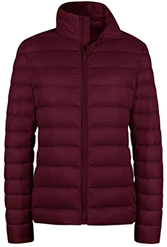 Wantdo Women's Puffy Coats Outwear Packable Light Weight Down Coat Wine Red XS