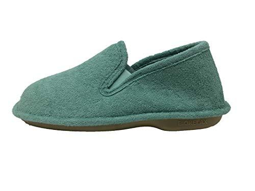 Zapatillas de Estar por casa/Mujer/Biorelax/Primavera-Verano/Talón Cerrado/Algodón Rizo/Suela: Goma/Talón Acolchado/Color Aguamar/Talla 40