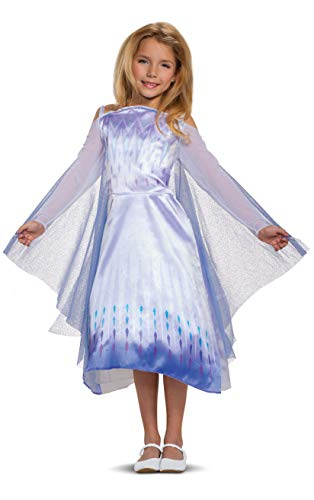 Disney Frozen 2 Elsa Costume for Girls, Classic Dress and Cape Outfit, Child Size Small (4-6x)
