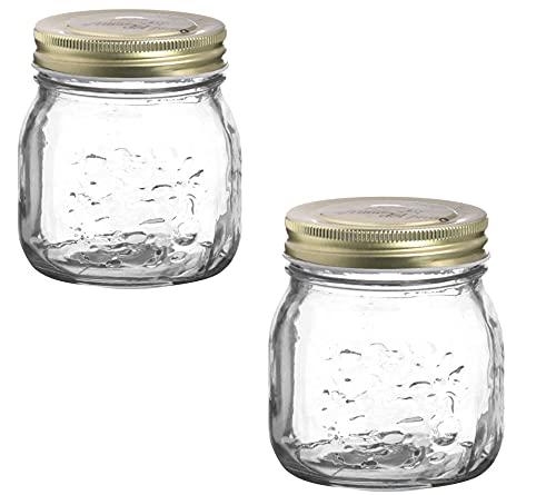 Annfly 2 tarros Mason de vidrio con boca regular y tapas de rosca doradas, herméticos, vintage, transparente, cuadrado, cristal, para alimentos, cereales, pasta (300 ml)