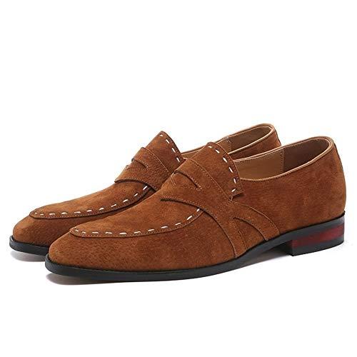 Casual Suede Shoe Oxford for Männer Freizeit Brautkleid Schuhe Slip on Suede Low Heel Wear Resistant Spitzschuh Patchwork Stitching Herren Sneaker (Color : Gelb, Größe : 41 EU)