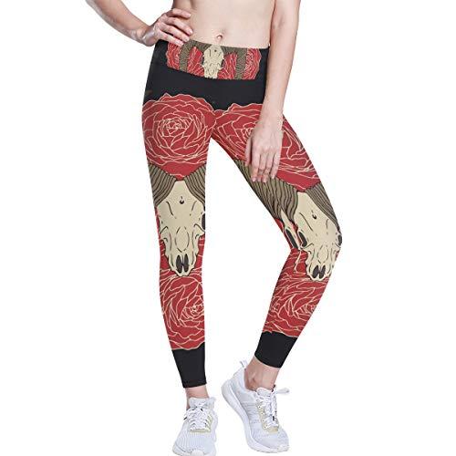Pantalones de yoga MONTOJ con diseño de calavera de cabra en rosas rojas de cintura alta, pantalones de entrenamiento para mujer