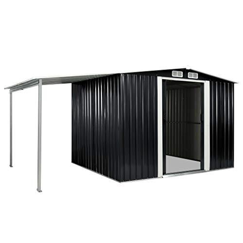 Festnight Tuinschuur met schuifdeuren Stalen hek met enkele deur Tuinomheining Poort Zwaaipoort met slot voor buitenbeschermingstuin 329,5x205x178 cm staal antraciet