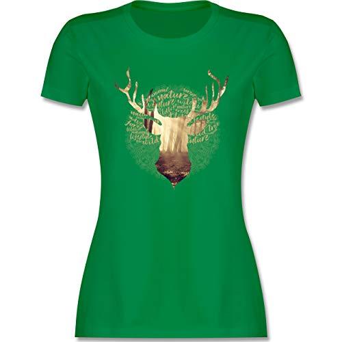 Oktoberfest & Wiesn Damen - Hirsch - L - Grün - t-Shirt Damen für Lederhose - L191 - Tailliertes Tshirt für Damen und Frauen T-Shirt
