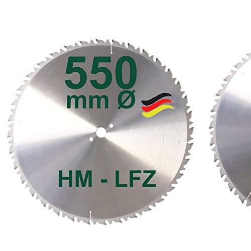 HM Sägeblatt 550 mm LFZ Flach-Zahn Hartmetall Widea für Brennholz Hartholz Kreissägeblatt für Wippsäge und Brennholzsäge 550mm