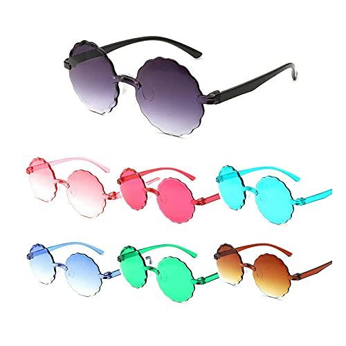 7 gafas de una sola pieza, sombras de gelatina, gafas de sol de flores de color caramelo para niños, gafas redondas de playa, gafas casuales de plástico para niños, gafas lindas