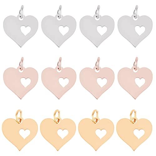 UNICRAFTALE 18pcs Mezclados 3 Colores Encantos de Forma Hueca de Corazón de Acero Inoxidable, Corazón con Colgantes de Corazón Dijes de Metal con Anillos de Salto para Collar, Pendientes Y Colgante