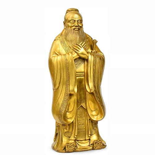LXYZ Pure Copper Confucius Sculpture Buddha Statue Feng Shui Craft Decoration Study Desktop Collection, Home And Office Decor