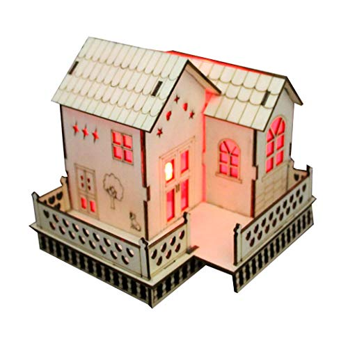 Fine Christmas Luminous Wooden House,DIY House Craft Kits,Small Wooden LED House Lighted Cabin for Party Wedding Decoration Christmas Toy (A)