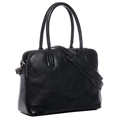 "BACCINI Businesstasche echt Leder Rosaria Laptoptasche 13"" Laptop Aktentasche Laptopfach Ledertasche Damen schwarz"