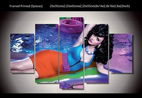 Yywife 5 teilige Wandbilder Bild Schlafzimmer Katy Perry Leinwanddrucke-Breite:150Cm,Höhe:80Cm|Moderne Dekoration Leinwand Poster 5 Stück Wandkunst