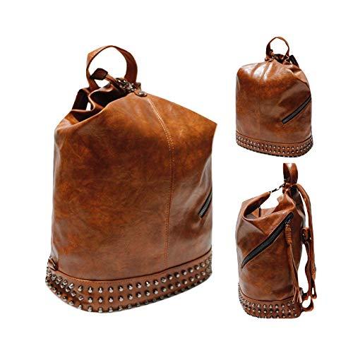 olvbug Zaino donna borchie nero fango rosa marrone eco pelle viaggio lavoro 33x30x15 F16121 (Marrone)