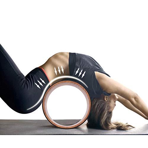 Germerse Rueda de Goma para Entrenamiento de Yoga, Herramienta de Entrenamiento de Espalda, 200 kg con cojinetes Resistentes, círculos de Yoga de PU, Aptitud(Wood Grain Inner Ring)